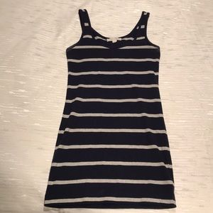Navy and gray striped dress size small